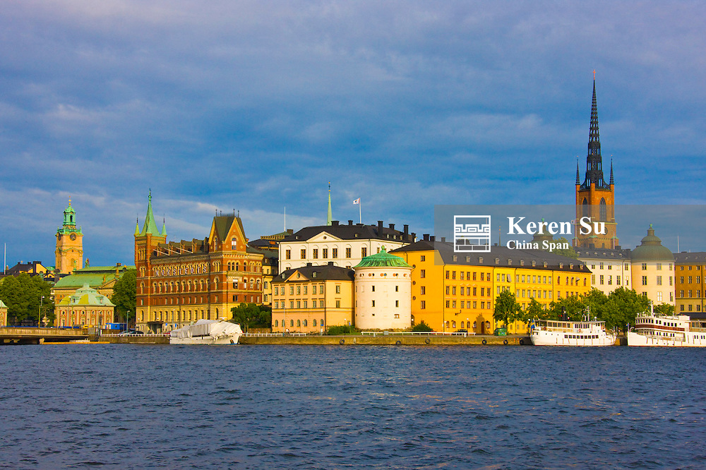 Cityscape dominated by Riddarholm Church along the waterfront, Stockholm, Sweden