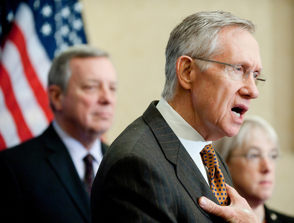 """Feb 3, 2011 - Washington, District of Columbia, U.S. - Senate Majority Leader HARRY REID (D-NV) during a news conference to """"urge Republicans to join in a responsible approach to deficit reduction, and drop threats to force a government shutdown that would have disastrous consequences for the economy.""""(Credit Image: © Pete Marovich/ZUMA Press)"""