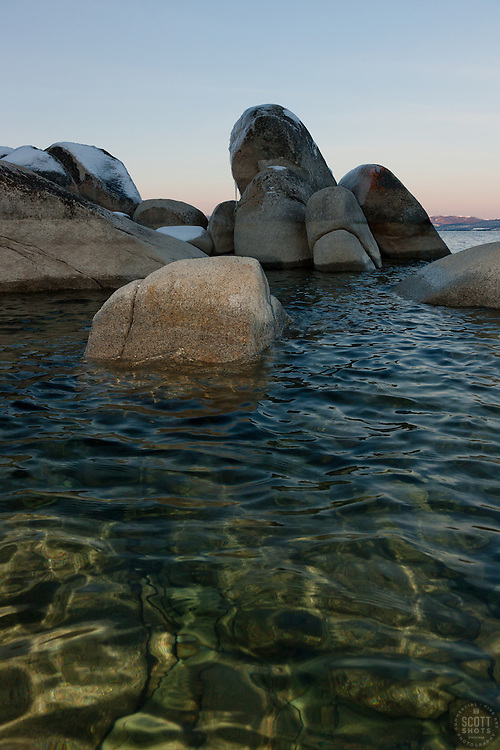 """""""Tahoe Boulders at Sunrise 20"""" - These icy boulders were photographed from a kayak in the early morning at Sand Harbor, Lake Tahoe."""