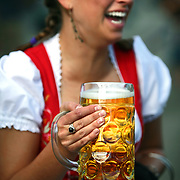 SHOT 9/22/2007 - Christy Loudon, 23, of Denver laughs with friends while drinking a stein of beer at the 38th Annual Oktoberfest in Denver, Co. Loudon said it was her first time at the event and is of German descent. Modeled after Oktoberfest in Munich Germany, Oktoberfest on Larimer Street commemorates this world-famous and time-honored tradition of German heritage. The festival has truly become a Denver mainstay offering German attractions, music from national touring groups, performances by international dancers, children?s activities, heritage booths selling German good, splendid décor, and accordion concert, and authentic cuisine. Oktoberfest Denver will move from its previous home on Larimer Square to Denver?s Ballpark Neighborhood. The new site, on Larimer Street between 20th and 22nd..(Photo by Marc Piscotty © 2007)