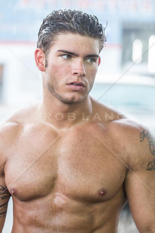 shirtless hunky man outdoors