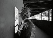 Michael Graves, the architect who designed the Humana Health Corporation building in Louisville, KY observes the construction in progress during a tour of the site on Main St. in 1982.