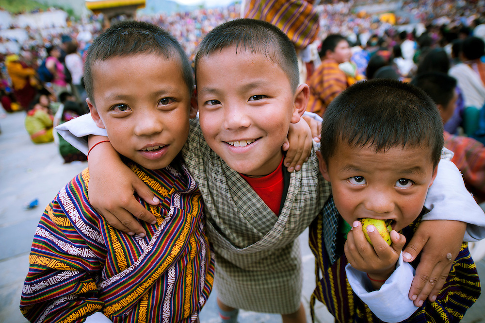 Asia, Bhutan, Cham, children, playing, Thimpu, Tibet, Tsechu
