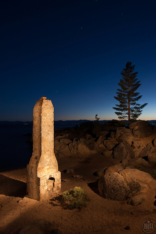 """""""The Chimney at Chimney Beach"""" - Photograph at night of the chimney at Chimney Beach, Lake Tahoe. A technique called light painting was used where the chimney was """"painted"""" with a flashlight during a long exposure."""