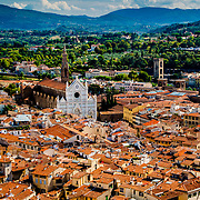 Red rooftops and the Basilica di Santa Croce, a view from the top of the Duomo, Florence, Italy