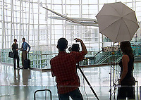 Business travelers at the Seattle Tacoma Airport - Production Stills.