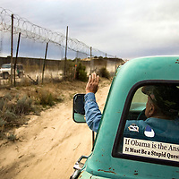 Bob Maupin, a rancher along the U.S. Mexico border in Campo, California, patrols his property for undocumented migrants on Barack Obama's inauguration day, January 20, 2009.