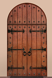 Arched medieval door with clipping path