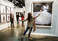 An art show goer dances in front of an artwork in the 20th Anniversary LA Art Show on Thursday January 15, 2015 in Los Angeles Convention Center, California, the United Stated.