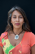Lakota woman, Kathy A.Garcia, at Crazy Horse Mountain, Black Hills, USA, model release 0129,