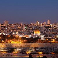 Pre-dawn view of old and new Jerusalem from the Mount of Olives. WATERMARKS WILL NOT APPEAR ON PRINTS OR LICENSED IMAGES.