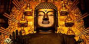 Massive 15 metre high Buddha, Diabutsu, inside Todaiji Temple, Nara, Japan.