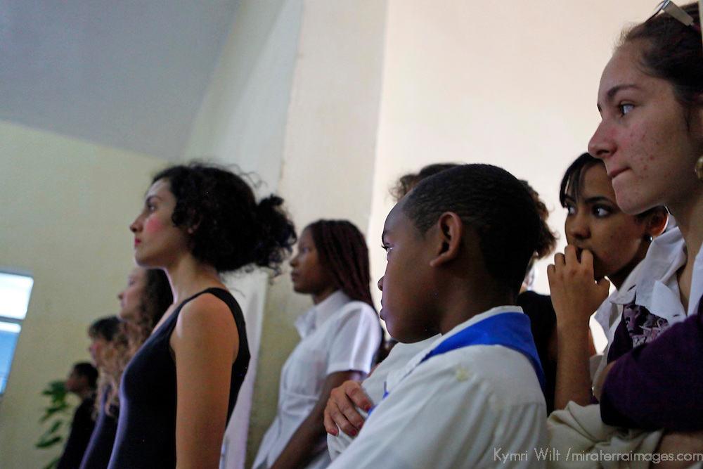 Central America, Cuba, Santa Clara. Arts students at Santa Clara Musical School of Art.