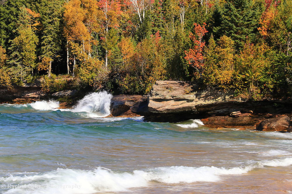 &quot;Wonders of Autumn&quot;<br /> <br /> Enjoy the blue water, waves, rock formations and fall color along the rocky shores of Lake Superior in Michigan's Upper Peninsula!
