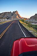 Driving through Badlands National Park, South Dakota