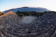 Turkey, Antalya Province, Kas The Roman amphitheatre The Mediterranean sea in the background