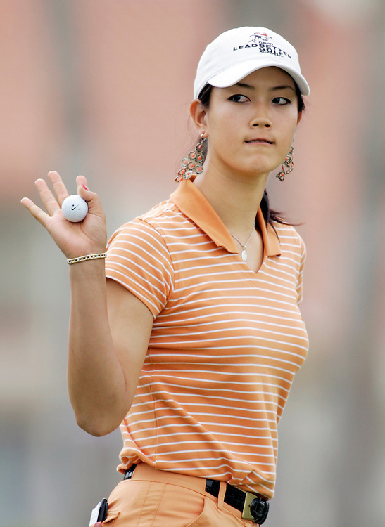 Michelle Wie playing as an amateur at the Kraft Nabisco Championship, the first major for the LPGA, in March, 2005. Wie, only 15, is expected to dominate the women's professional tour in the future and is looking at millions of dollars in endorsements when she turns pro.