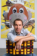 UK. London. New works by artist Jeff Koons go on show in London. Photograph shows his 'Hulk Elvis' work being hung in the Gagosian Gallery in Britannia Street..Photo shows the the artist Jeff Koons..Steve Forrest/Insight for The New York Times.Tel: +44 (0)20 7253 2982