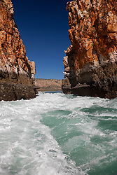 Water rushes through the Horizontal Waterfalls on a spring tide in Talbot Bay.