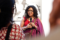 SAJA VP and Convention Chair Aparita Bhandari at the AICON Gallery's opening reception for the SAJA Convention