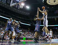 Apr 11; Newark, NJ, USA; New Jersey Nets center Brook Lopez (11) makes a shot during the first half at the Prudential Center.