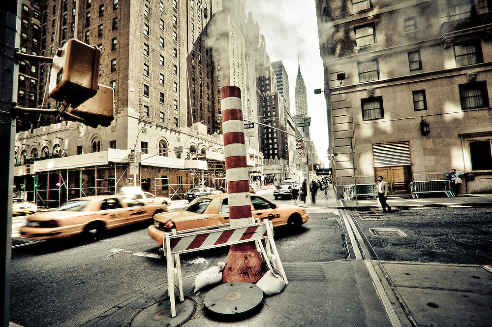A pipe at the corner of Lexington Street and 49th street in Midtown Manhattan, New York.