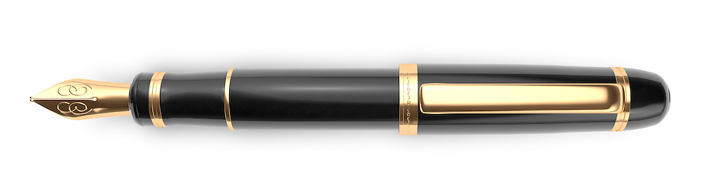 A luxury fountain pen on a white background used as a paragraph divider.
