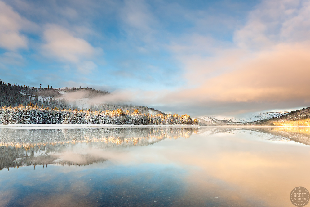 """Donner lake Morning 16"" - Photograph of Donner Lake in Truckee, California just after sunrise, shot from the East shore looking toward Donner Summit."