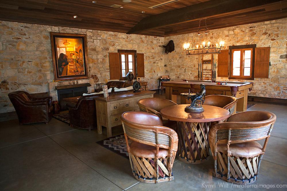 USA, California, Carmel. Holman Ranch Hacienda Game Room.