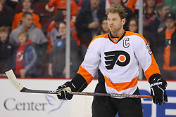 Mar 13, 2013; Newark, NJ, USA; Philadelphia Flyers center Claude Giroux (28) during warmups for their game against the New Jersey Devils at the Prudential Center.