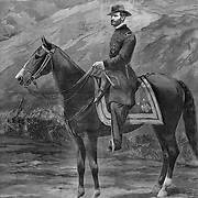 Union General William Tecumseh Sherman on horseback in the the Shenandoah Valley. Civil War in Virginia  Illustration from Harper's Weekly December 17, 1864  after a photo by Brady