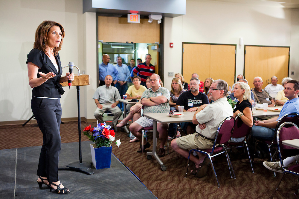 Republican presidential candidate Rep. Michele Bachmann (R-MN) campaigns at the Calhoun County Republican Party dinner on Monday, August 8, 2011 in Rockwell City, IA.