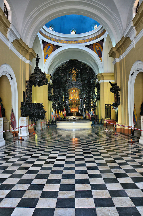 Pantheon of Heroes Foyer in Lima, Peru<br /> This impressive foyer was part of a church built in 1746.  In 1876 it became the National University of San Marcos&rsquo;s chapel. But then in 1924, on the 100th anniversary of the end of the Peruvian War of Independence, the war dead were honored by being reburied beneath the altar. It is now called the Pante&oacute;n de los Pr&oacute;ceres or the Pantheon of Heroes.