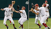 June 20, 2010; Omaha, NE, USA; Oklahoma Sooners second baseman Danny Black (9) catches the ball as he and right fielder Cody Reine (11) collide in the sixth inning against the South Carolina Gamebocks during game 3 of the 2010 College World Series championships at Rosenblatt Stadium. Mandatory Credit: Crystal LoGiudice-US PRESSWIRE