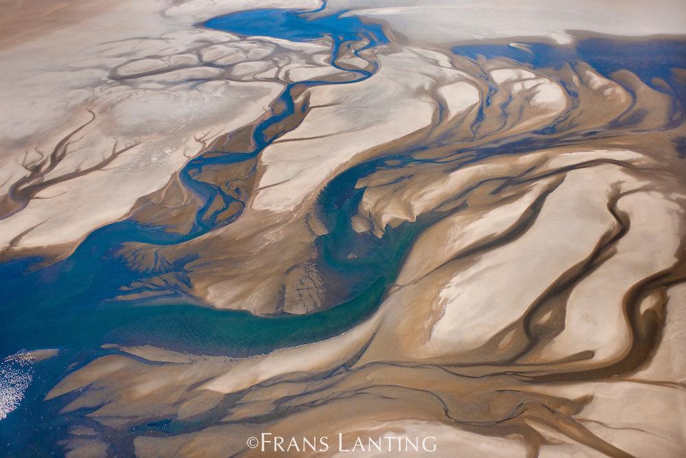 Coastal lagoon (aerial), Sandwich Harbour, Namib-Naukluft National Park, Namibia