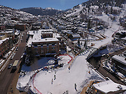 SHOT 3/2/17 12:11:26 PM - Aerial photos of Park City, Utah. Park City lies east of Salt Lake City in the western state of Utah. Framed by the craggy Wasatch Range, it's bordered by the Deer Valley Resort and the huge Park City Mountain Resort, both known for their ski slopes. Utah Olympic Park, to the north, hosted the 2002 Winter Olympics and is now predominantly a training facility. In town, Main Street is lined with buildings built primarily during a 19th-century silver mining boom that have become numerous restaurants, bars and shops. (Photo by Marc Piscotty / © 2017)