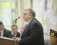 Mayor Pat Patterson speaks during a Memorial Day service at the National Guard Armory in Oxford, Miss. on Monday, May 31, 2010.