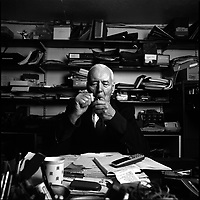 Tony Benn, a left-wing former MP and Minister in successive Labour Party Governments and leading opponent of the wars with Iraq and Afghanistan. Photographed in his writing studio at his home in Holland Park, West London.