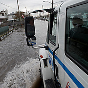 There is still flooding in the center of Breezy Point making it hard for residents to come a go. Breezy Point, Queens. Jonah Markowitz/Falcon Photo Agency