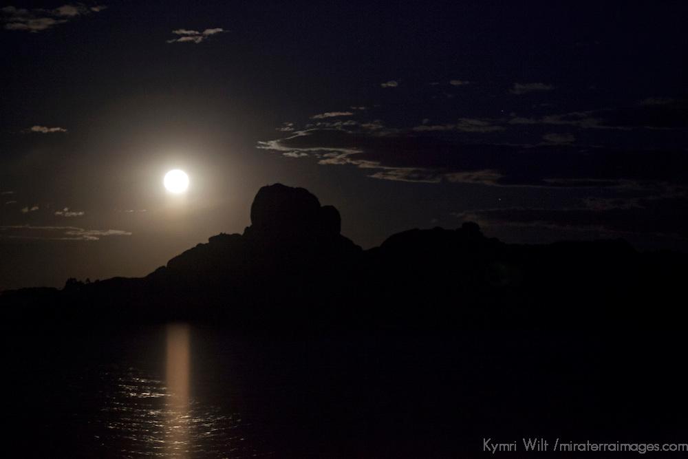 South America, Peru, Laka Titicaca. Full Moon rises over the landscape of Lake Titicaca, Peru.
