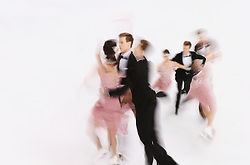 A multiple exposure picture of  Elena Ilinykh and Nikita Katsalapov of Russia competing during the Ice Dance Short Dance of the Figure Skating event at the Iceberg Palace during the Sochi 2014 Olympic Games, Sochi, Russia, 16 February 2014.