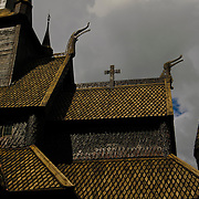The old mediveal stavechurch at Lom, Oppland, Norway.