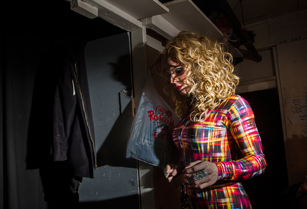 Drag Queen Katya is ready to step out from backstage for a show at Jacques Cabaret in Bay Village neighborhood of Boston, MA USA on February 16, 2012.<br /> Jacques Cabaret (EST: 1931) is the oldest drag queen live cabaret in Boston, MA USA.