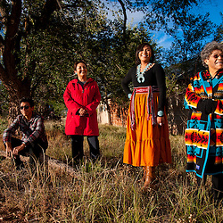 Kayla Begay with her family in Navajo, N.M.