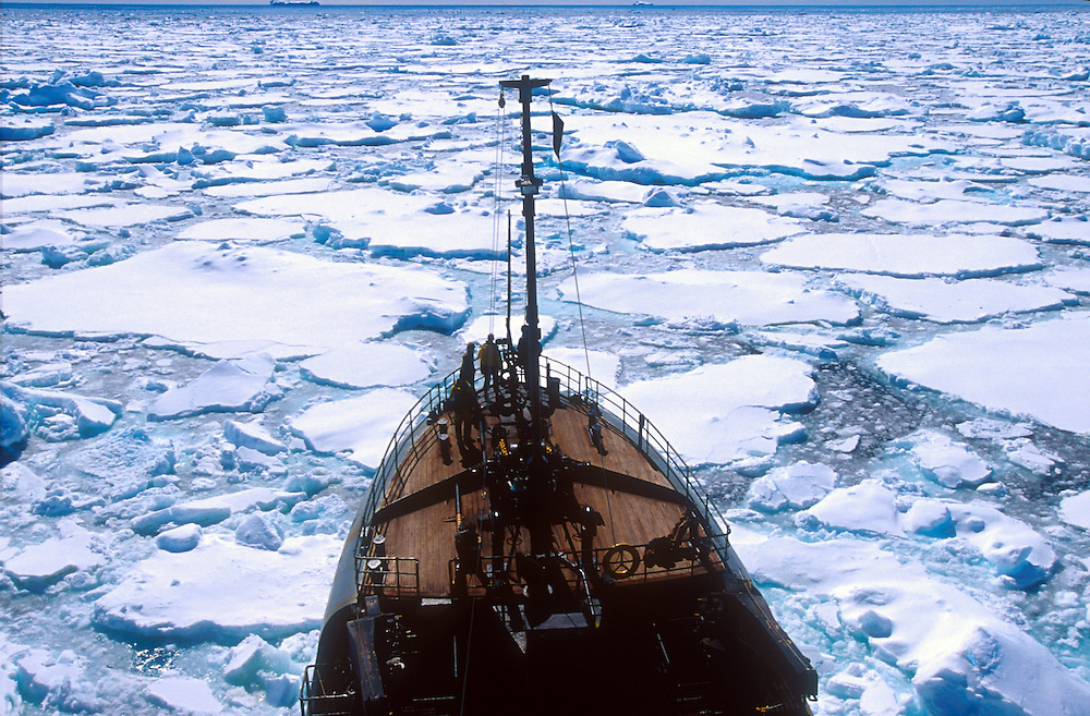 Sea Shepherd Conservation Society ship Farley Mowat in the pack ice in Antarctica.