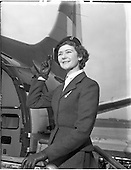 1957 - Air Hostess Miss Denise O'Brien with Viscount plane