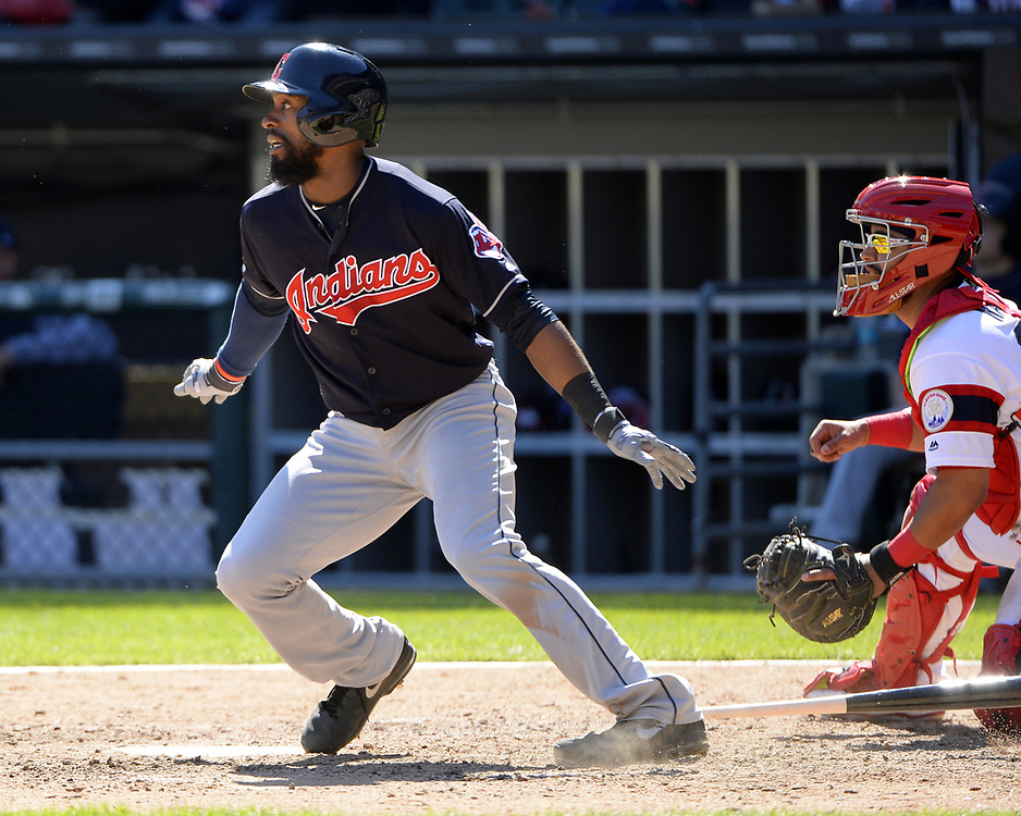 CHICAGO - APRIL 23:  Austin Jackson #26 of the Cleveland Indians bats against the Chicago White Sox on April 23, 2017 at Guaranteed Rate Field in Chicago, Illinois.  The White Sox defeated the Indians 6-2.  (Photo by Ron Vesely)   Subject:  Austin Jackson