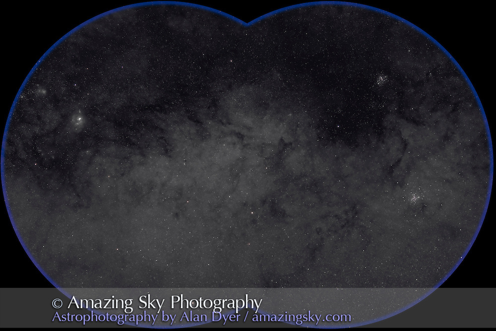 M7 to M8 area of Sagittarius Starcloud, field oriented equatorially, with Hutech-modified Canon 5D camera with 135mm f/2 Canon L lens at f/2.8 for 3 minutes each at ISO400. Stack of 4 exposures, averaged stacked. Taken from Queensland, Australia, June 2006. Slight misfocus adds magenta haloes around stars.