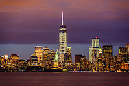 New York City Skyline and Statue of Liberty, Manhattan, New York
