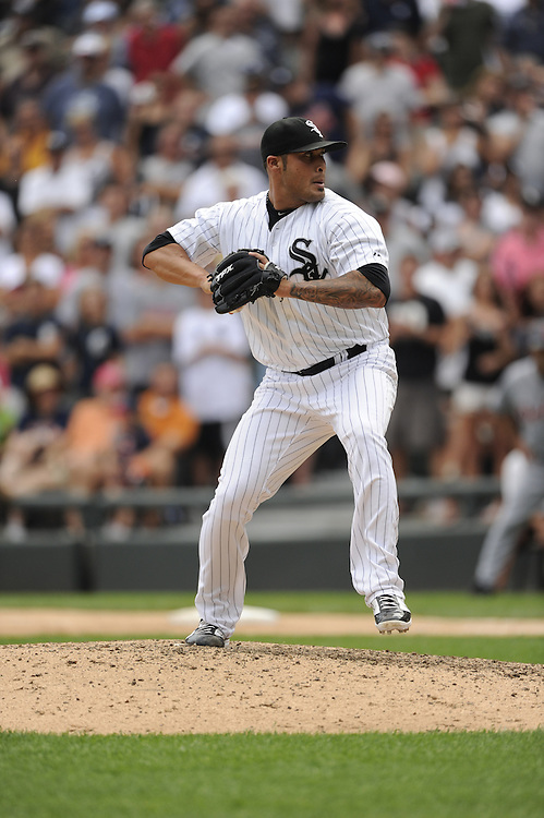 CHICAGO - JULY 27:  Sergio Santos #46 of the Chicago White Sox pitches against Detroit Tigers on July 27, 2011 at U.S. Cellular Field in Chicago, Illinois.  The White Sox defeated the Tigers 2-1.  (Photo by Ron Vesely)  Subject: Sergio Santos